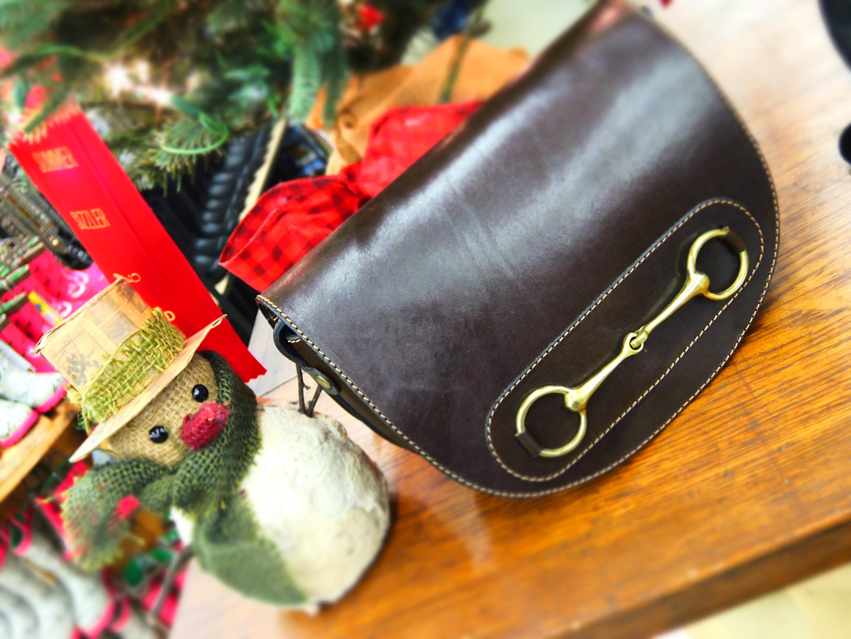 Chocolate Brown Leather Snaffle Bit Cross Body Purse