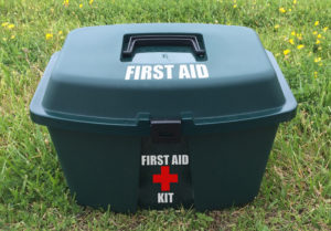 A well marked first aid kit.